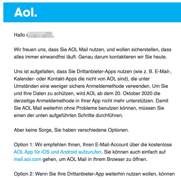 2020-08-25 AOL E-Mail Wichtiger Sicherheitshinweis fuer Ihren AOL-Account