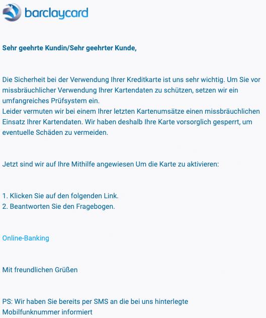 2020-08-25 Barclaycard Spam Fake-Mail Socherheitshinweis