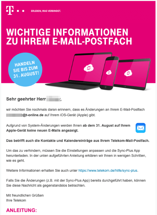 2020-08-26 Telekom E-Mail Handlungsbedarf Aendern Sie Ihre E-Mail-Einstellung bis zum 31 August