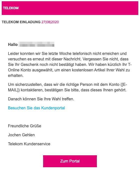2020-08-27 Telekom Spam-Mail Einladung erneut versendet