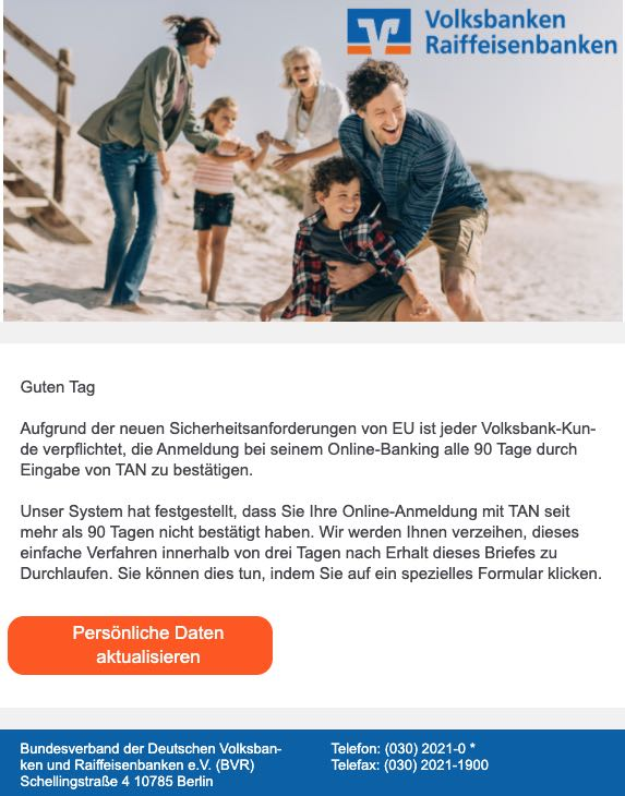 2020-08-27 Volksbank SPam Fake-Mail Volksbank eG