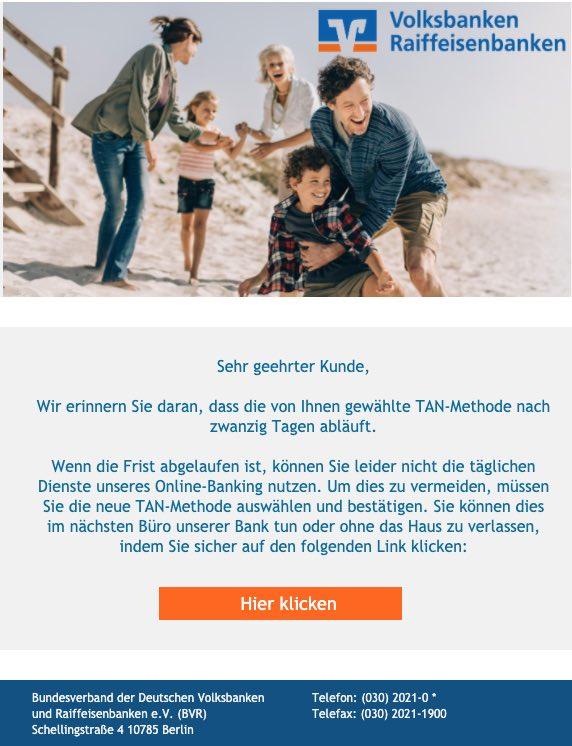 2020-08-27 Volksbank SPam-Mail Volksbank eG