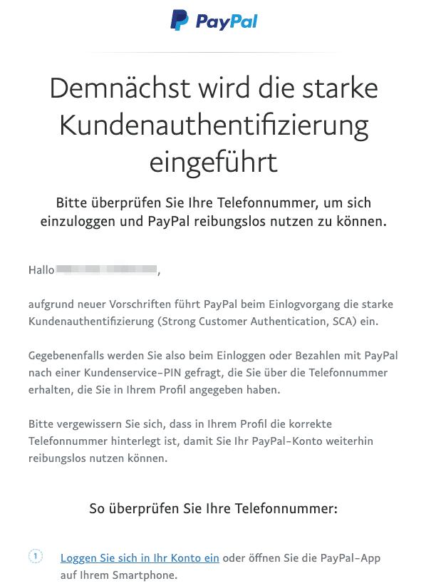 2020-08-31 PayPal E-Mail Denken Sie daran Ihre Telefonnummer zu überprüfen
