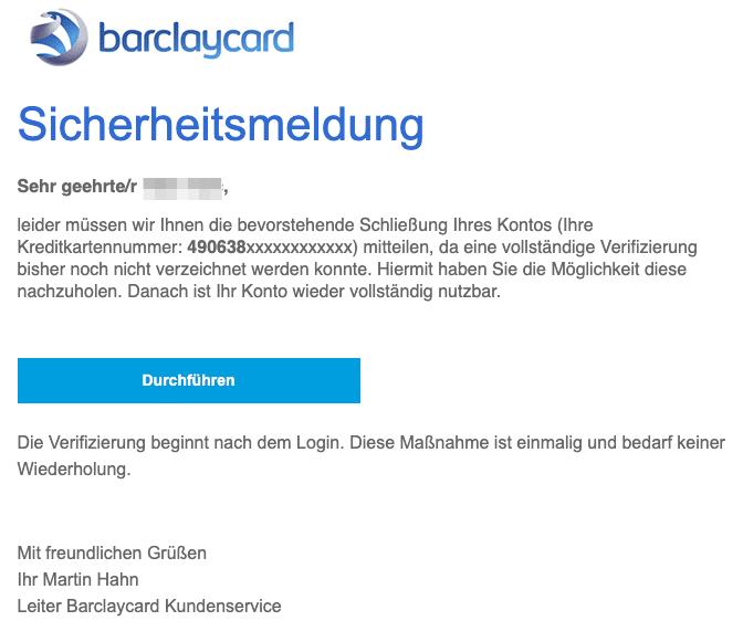 2020-09-01 Barclaycard Spam Fake-Mail Mitteilung zur Sperrung Ihres Kontos