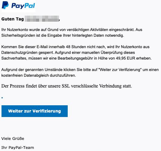 2020-09-01 PayPal Spam Fake-Mail Nachricht von Ihrem Kundenservice