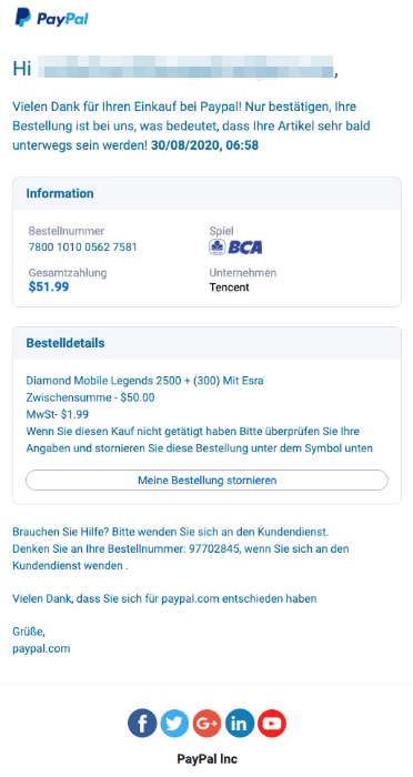 2020-09-01 PayPal Spam Fake-Mail Bestellung