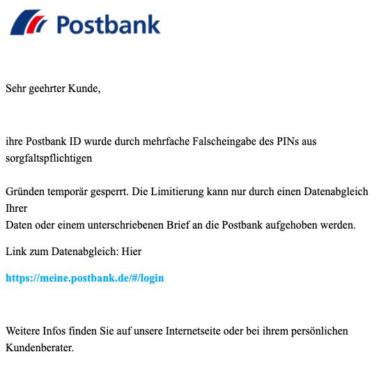 2020-09-03 Postbank Spam Fake-Mail BestSign App