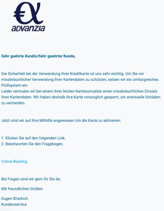 2020-09-16 Advanzia Bank Spam Fake-Mail Sicherheitshinweis
