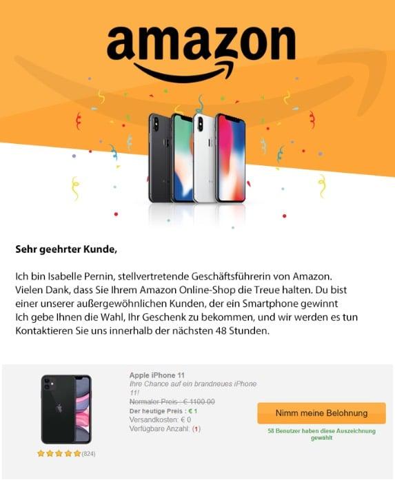 2020-09-21 Amazon Fake-Mail Spam Herzliche Glueckwuensche Dein Geschenk ist fertig