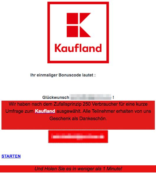 2020-09-22 Kaufland Fake-Mail Ihr einmaliger Bonuscode