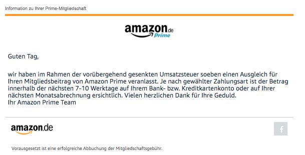 Amazon E-Mail Ihr Ausgleich für die vorübergehend gesenkte Umsatzsteuer