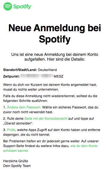Spotify E-Mail Neue Anmeldung bei Spotify