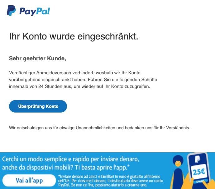 2020-09-03 PayPal Spam Fake-Mail Ihr Konto wurde eingeschrankt