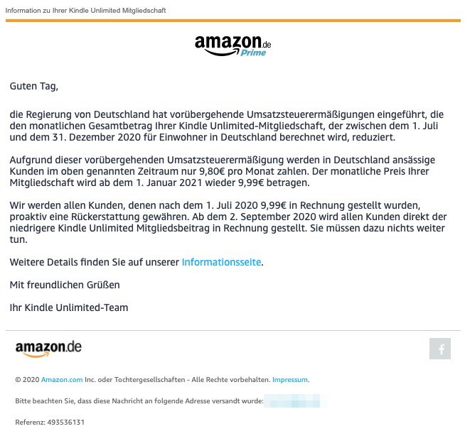 2020-09-07 Amazon E-Mail Kindle Unlimited – Information zur Umsatzsteuerermaessigung