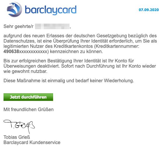 2020-09-08 Barclaycard Spam Fake-Mail Mitteilung zur Sperrung Ihres Kontos