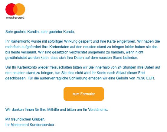 2020-09-08 Mastercard Spam Fake-Mail Ihr Kartenkonto wurde gesperrt