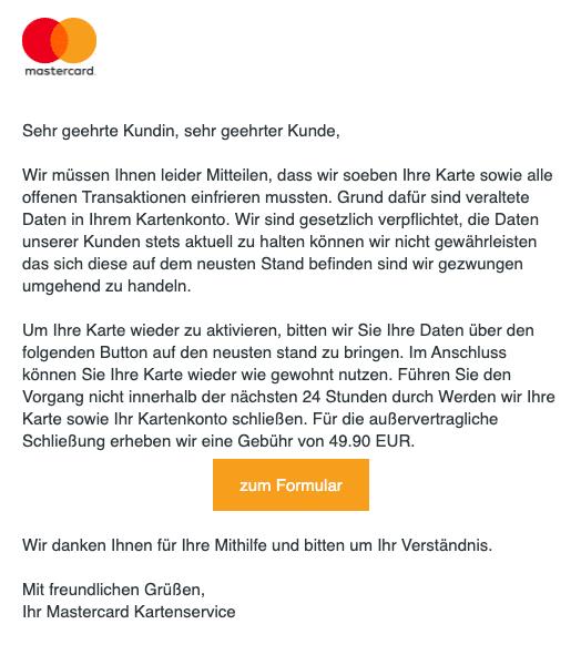 2020-09-08 Mastercard Spam Fake-Mail Schliessung Ihrer Karte