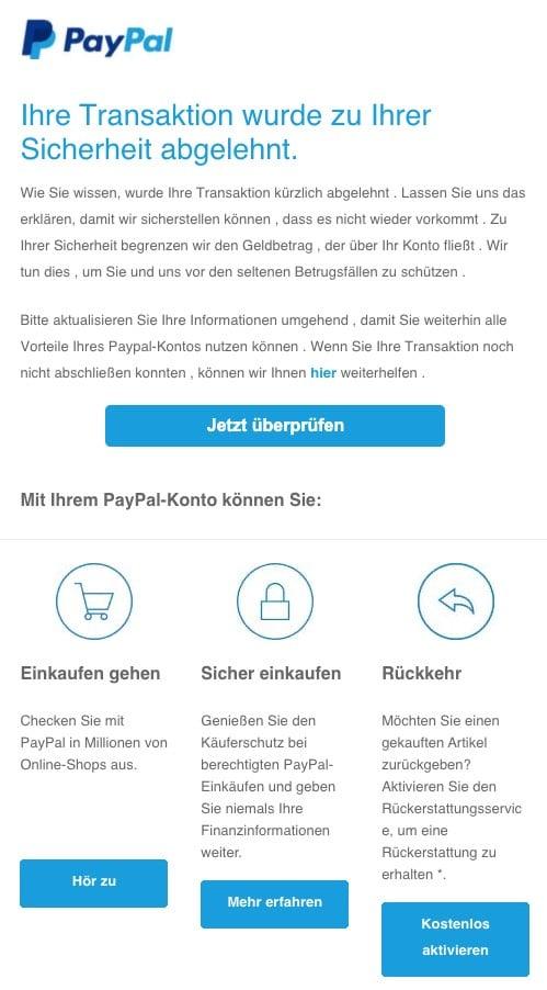 Amazon Ihre Zahlung Wurde Abgelehnt Fake
