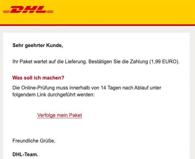2020-09-09 DHL Fake-Mail DHL - Ihr Paket wartet auf die Lieferung