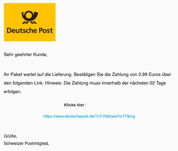 2020-09-09 Deutsche Post Spam-Mail Ihr Paket wartet auf die Lieferung