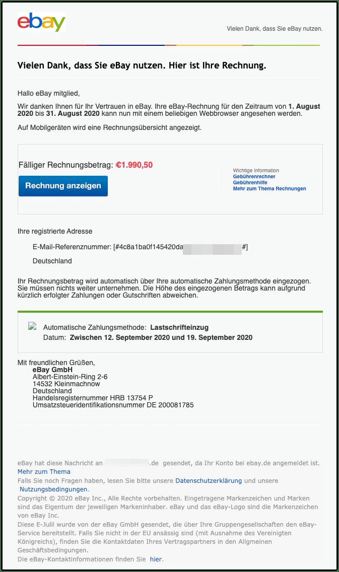 2020-09-09 Phishing Ebay Rechnung