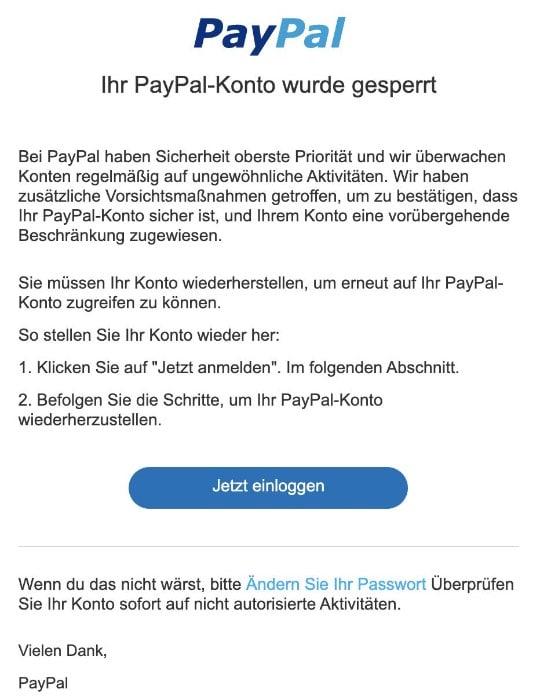 2020-09-10 PayPal Spam Phishing-Mail Ihr PayPal-Konto wurde gesperrt Sofortige Antwort erforderlich