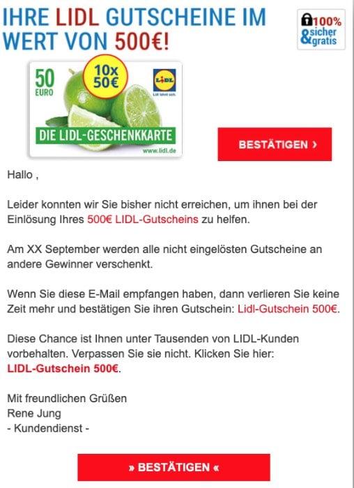 2020-09-14 Lidl SPam Fake-Mail Gutschein 500 Euro