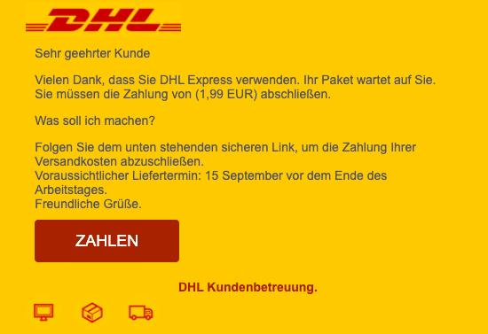2020-09-15 DHL SPam Fake-Mail IHR VERSAND IST AUF SEINEM WEG