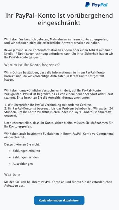 2020-09-16 PayPal Fake-Mail SPam Konto eingeschraenkt