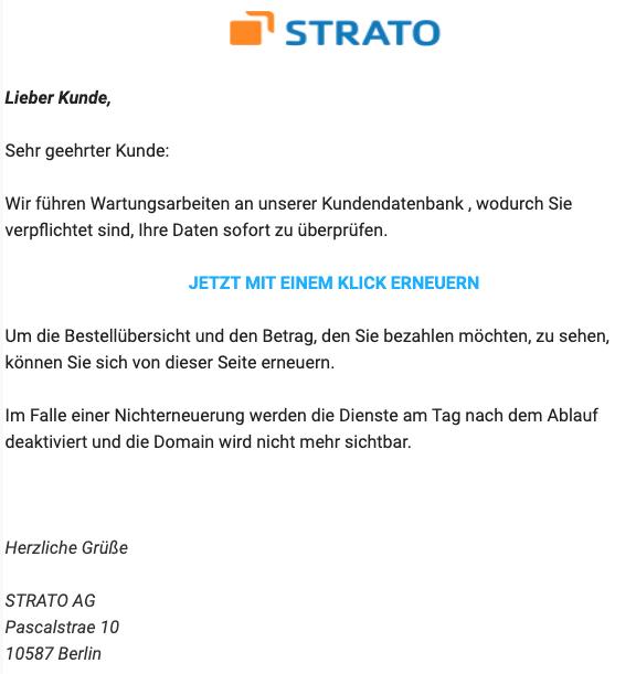 2020-09-17 Strato Spam-Mail Ihre Zahlung wurde nicht autorisiert