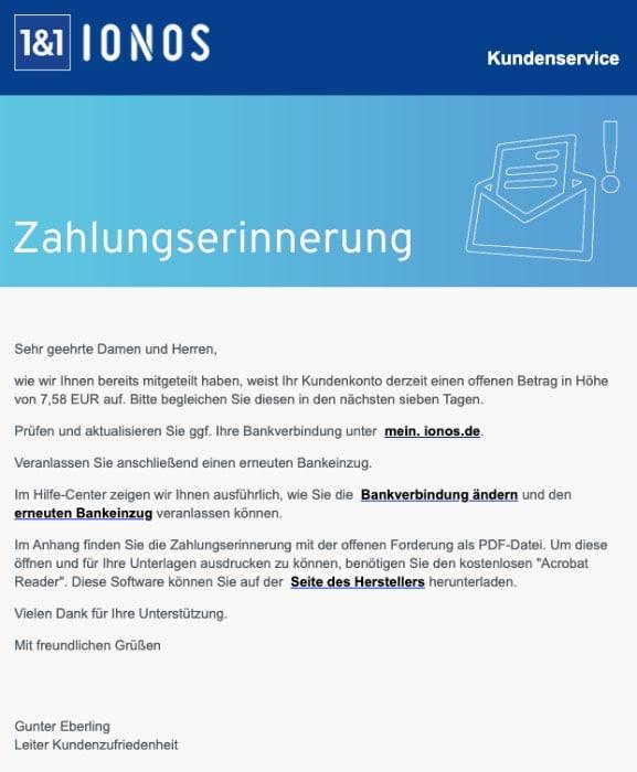 2020-09-18 IONOS SPam Fake-Mail Zahlungserinnerung