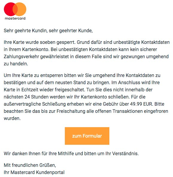 2020-09-20 Mastercard Spam-Fake-Mail Ihre Karte wurde soeben gesperrt