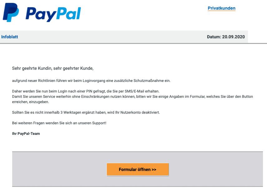 2020-09-21 PayPal SPam Fake-Mail Hinweis