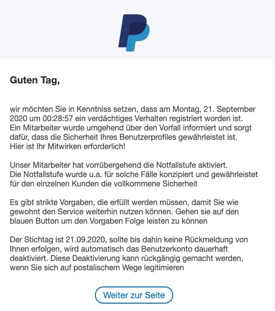 2020-09-21 PayPal Spam-Mail Ihr Benutzerkonto erfordert Ihre Aufmerksamkeit
