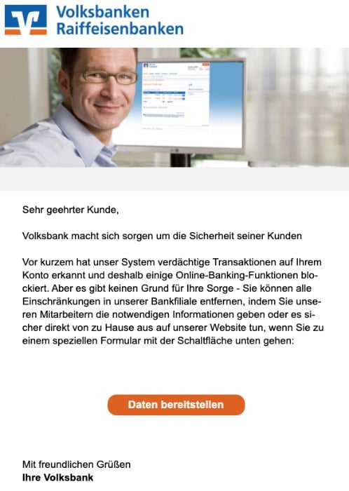 2020-09-21 Volksbank Spam-Mail Fake Volksbank Service-Center