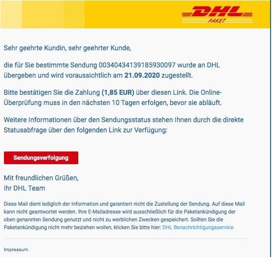 2020-09-22 DHL Deutsche Post Fake-Mail DHL Express
