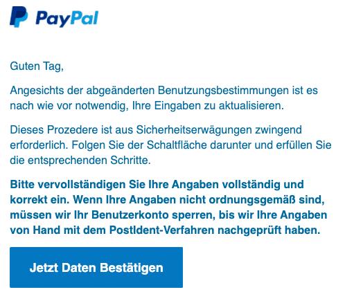 2020-09-22 PayPal SPam-Mail Fake Daten bestaetigen