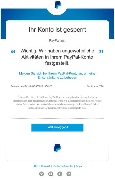 2020-09-22 PayPal Spam Fake-Mail Automatische Berichte