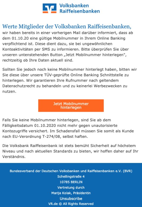 2020-09-22 Volksbank Spam Fake-Mail Haben Sie bereits Ihre Mobilnummer hinterlegt