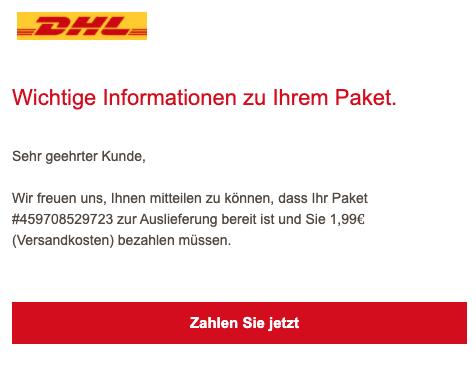 2020-09-23 DHL Spam-Mail Abofalle Ihr DHL-Paket ist lieferbereit