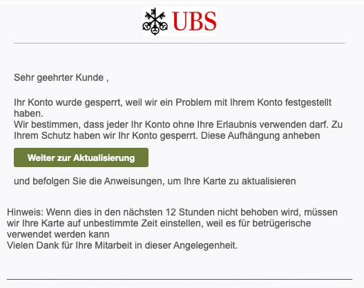 2020-09-23 USB Bank Spam Fake-Mail Ihre Karte wurde gesperrt