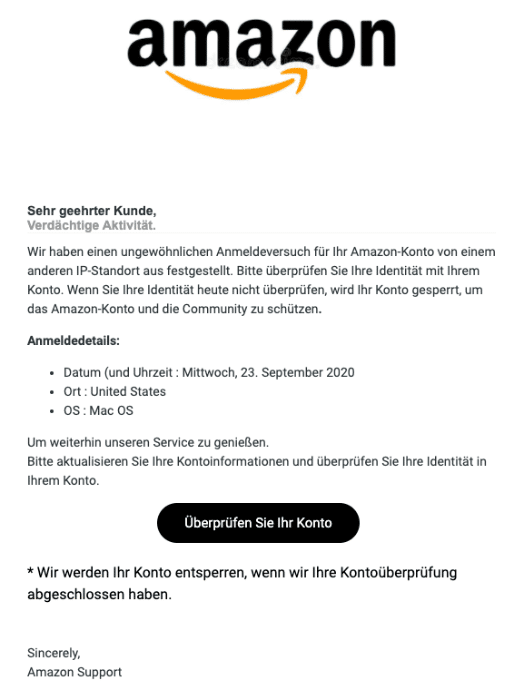 2020-09-24 Amazon Spam Fake-Mail Fehler in Ihrem Konto