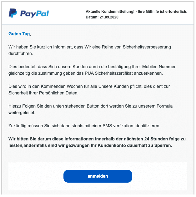 2020-09-24 PayPal SPam Fake-Mail Kontoaenderungen