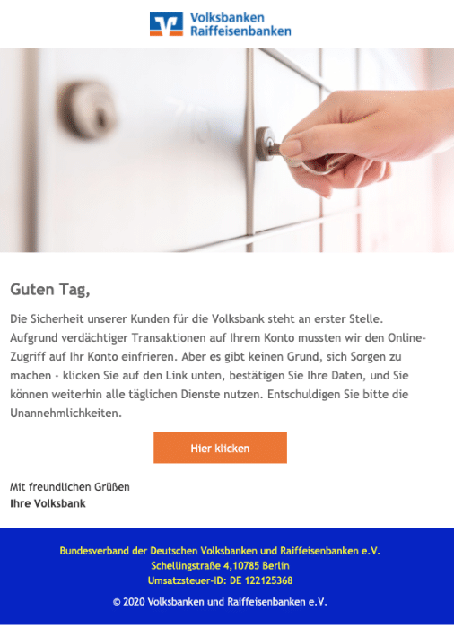 2020-09-24 Volksbank Spam-Mail Fake Volksbank Kunden-Service
