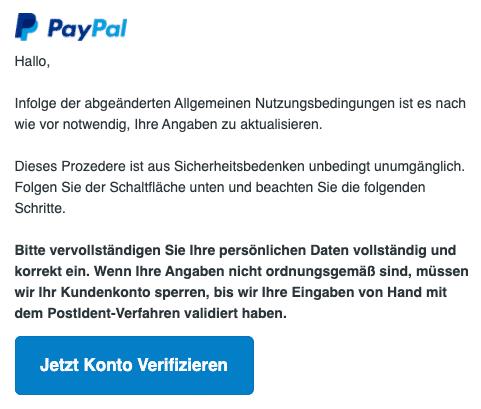 2020-09-25 PayPal Spam Fake-Mail Wichtige Nachrichten bzgl Ihres Kontos