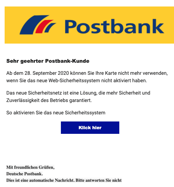 2020-09-28 Postbank Spam Fake-Mail
