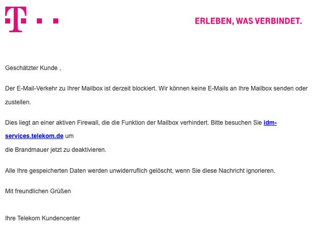 2020-09-28 Telekom Spam Phishing-Mail Der E-Mail-Verkehr zu Ihrer Mailbox ist derzeit blockiert