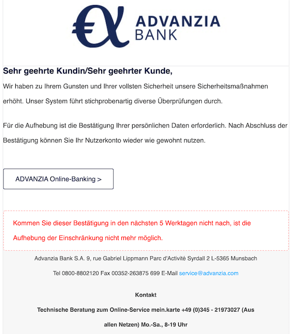 2020-09-29 Advanzia Phishing