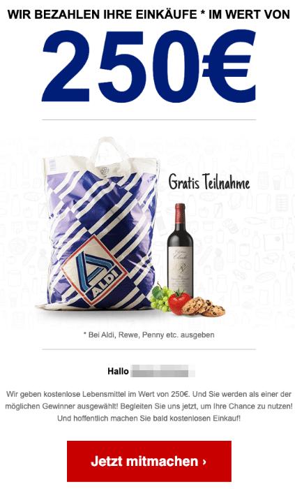 2020-09-29 Aldi Spam Fake-Mail 250Euro Geschenkkarte zu gewinnen