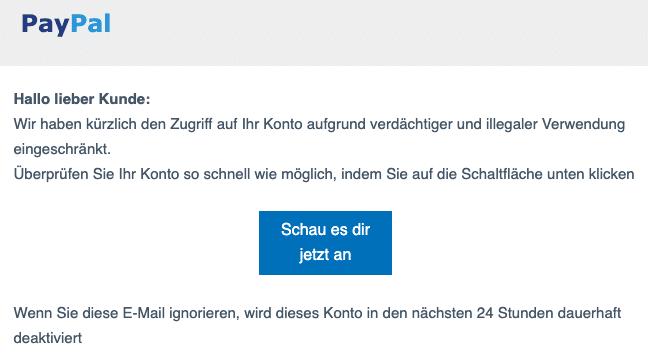 2020-09-29 PayPal Spam Fake-Mail Bitte bestaetigen Sie Ihre Angaben